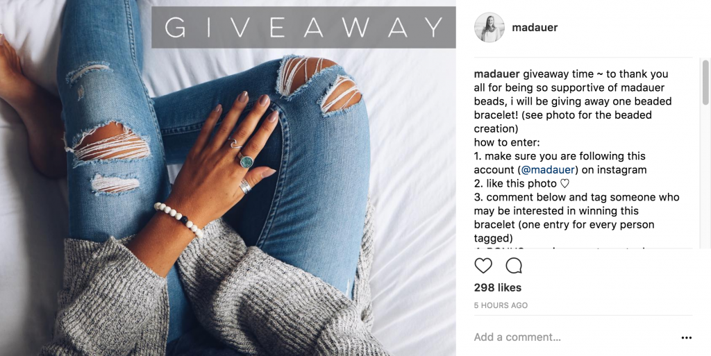 screen shot of giveaway post